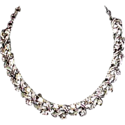 REDUCED Vintage CORO Rhinestone Leaf Necklace