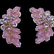 REDUCED Vintage Pink Rhinestone Art Glass Earrings
