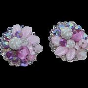 REDUCED Vintage ROBERT Bead and Rhinestone Earrings