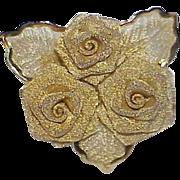 REDUCED Vintage Gold Plated Mesh Rose Brooch