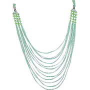 SALE Art Deco Flapper Necklace Green Torsade