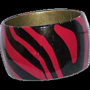 Vintage Black and Red Zebra Striped Wide Bangle