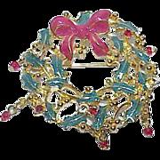 REDUCED Vintage TANCER II Enamel Rhinestone Christmas Wreath Brooch