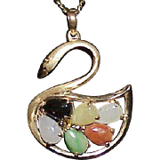 REDUCED Vintage 14k Multi Colored Jade Swan Pendant