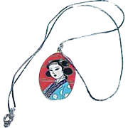 Vintage Japanese Cloisonne Pendant on Chain