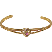 Vintage Pink Sapphire Cuff Bracelet