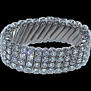 Vintage 4 Row Rhinestone Flex Band Bracelet