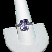 Vintage 14k White Gold Amethyst Diamond Estate Ring