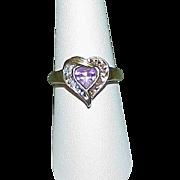Vintage 10k Amethyst Diamond Heart Estate Ring