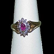 SOLD Vintage 10k Gold Ruby, Diamond Estate Ring