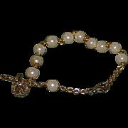 Vintage Religious Faux Pearl Bracelet