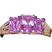 Vintage 10k Pink Sapphire Estate Ring