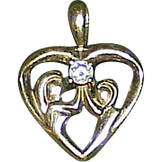 Vintage 10k Gold Aquamarine Heart Pendant/Charm