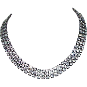Vintage 3-Row Rhinestone Choker Necklace