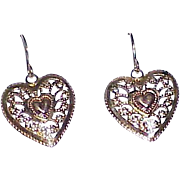 Vintage 14K Gold Heart Earrings Shepherd's Hooks