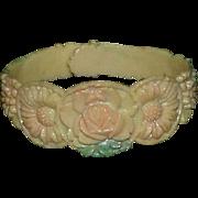 Vintage Celluloid Carved Child's Cuff Style Bracelet