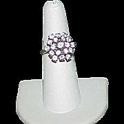 Vintage 14k White Gold White Topaz Cupcake Style Ring