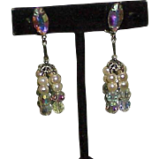 Vintage LEWIS SEGAL CALIFORNIA Faux Pearl, Crystal, Aurora Borealis Dangle Earrings