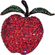 Vintage WEISS Japanned Rhinestone Apple Brooch