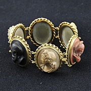 SOLD MASTERPIECE! Antique Italian Hand Carved Lava Cameo's with 18K Gold Bracelet