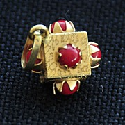 Vintage Italian,  14K Yellow Gold with Coral  (circa 1950)