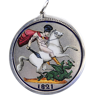"STUNNING!   Circa 1821, William IV ""Crown"" Enameled Pendent"