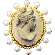 MASTERPIECE!    Antique Italian Lava Cameo, with Natural Pearls