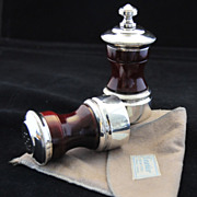 SOLD CARTIER ELEGANCE!  Vintage Sterling Silver & Walnut Salt  Shaker & Pepper Grinder