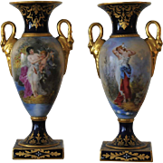 Pair of Carl Theime Dresden Oviform Vases circa 1870.