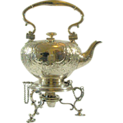 SALE Superb! Circa 1800  Elkington Tilting Silver Plate Water Kettle with Lamp-Stand