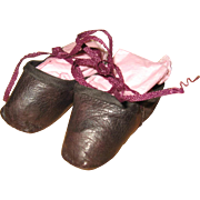 SOLD Antique slippers for wax or china doll