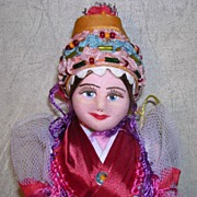 """SOLD 9"""" Cloth Face Travel Doll"""