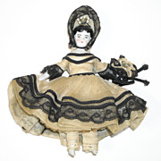 """4"""" Bisque Doll House Doll ~ Great Original Clothing"""
