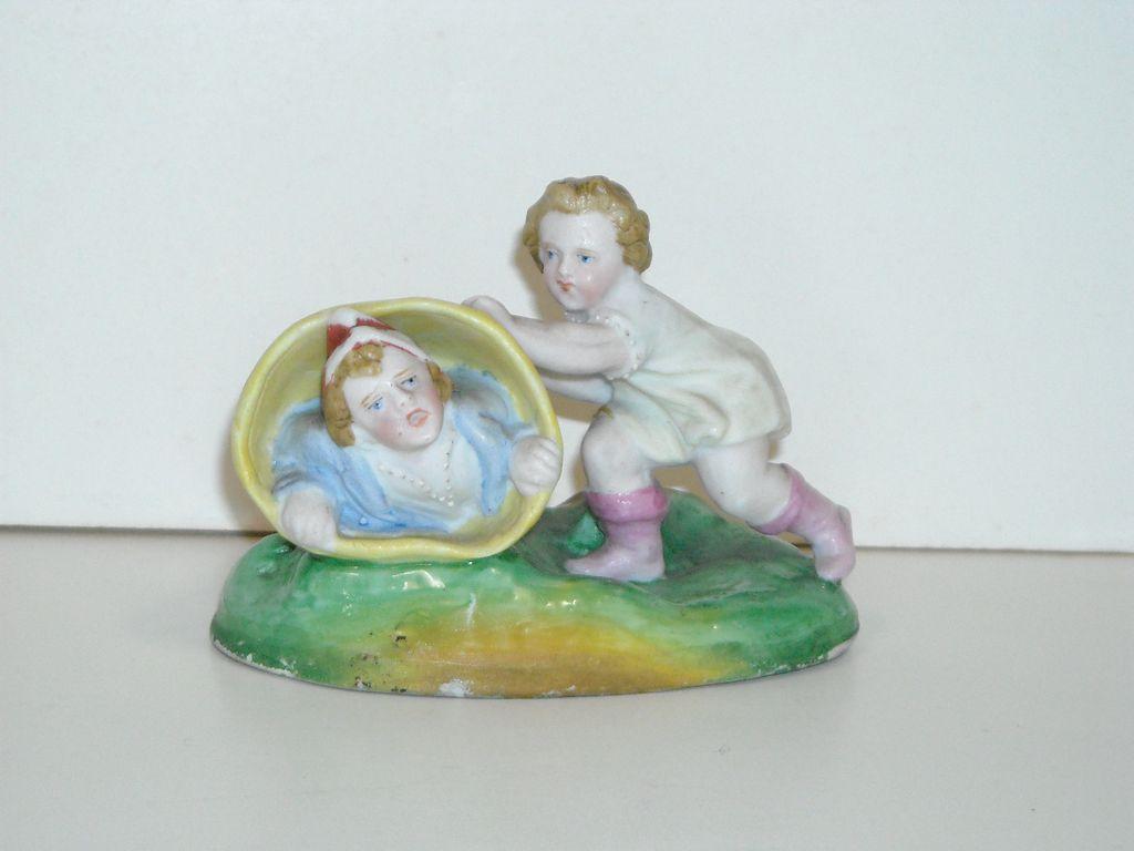 All Bisque Figurine ~ Children Playing
