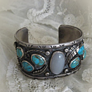 1940s Sterling and Turquoise with Moonstone Bracelet