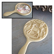 Ornate Antique Celluloid Mirror for French Fashion Doll or Teddy Bear