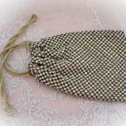 Beautiful 1920s Rhinestone and Pearl Drawstring Bag or Purse