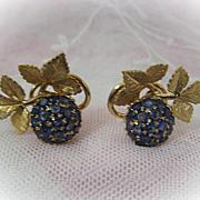 Italian Blueberry Sapphire Earrings Set in 18 Karat Gold