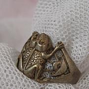 Rare Silver Circa 1890s Lucky Frog Ring