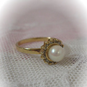 1950s Gold Ring with Pearl and Tiny Diamonds