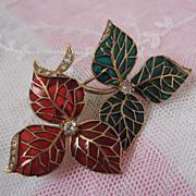 Plique a Jour Art Deco Brooch Enameled with Diamonds