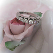14 Karat White Gold Ring with Seven Diamonds