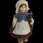 "R. John Wright Molded Felt Gretel Brinker 18"" Doll in Box All Original"