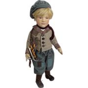 """R. John Wright Molded Felt Hans Brinker 18"""" Doll in Box All Original"""