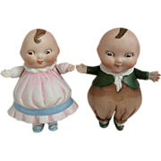 Adorable All Bisque Happifats Children Circa 1920s 4 Inches Tall