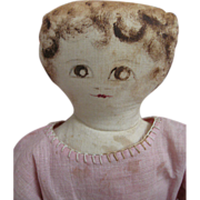 Very Sweet Circa 1900-1915 American Cloth Doll Babyland Rag Type Painted Face