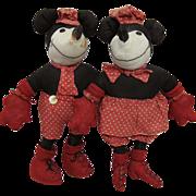 1930s Folk Art Mickey and Minnie Mouse Dolls