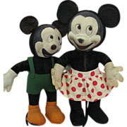 Cute Mid Century Mickey and Minnie Mouse Vintage Cloth Dolls
