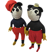 Unique Pair Circa 1930s Cloth Dolls Mickey and Minnie Mouse