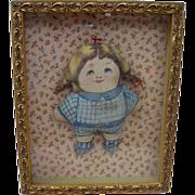 Adorable Shadowbox Framed Display of Arnold Print Works Doll
